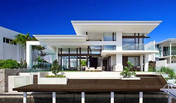 Exceptionally Designed Waterfront Home On Mooloolah Island Contemporary House Exterior Architecture House Modern House Design