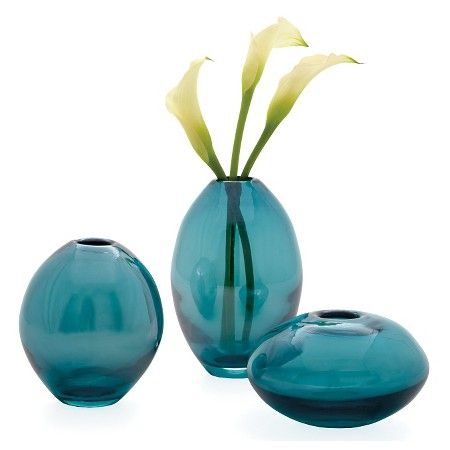 Mini Glass Lustre Vases Set Of 3 Teal 525 By Torre Tagus
