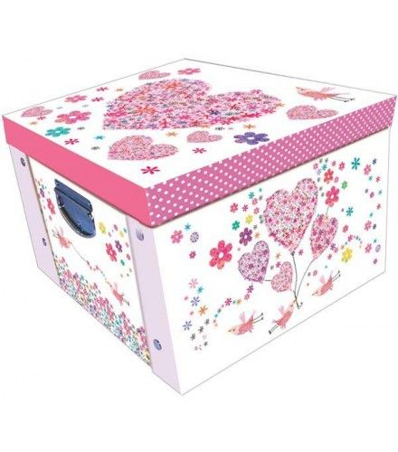 Decorative Stationery Boxes Custom Daisy Patch Hearts Large Collapsible Storage Box  Decorative Inspiration Design