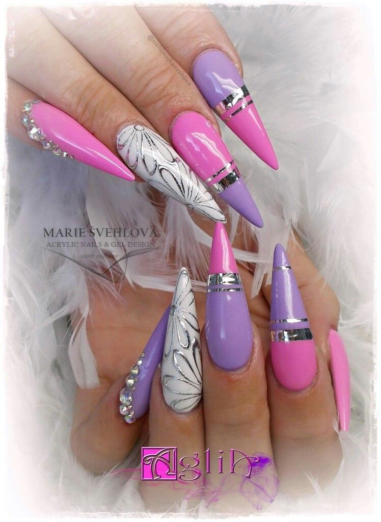 Acrylic Nails And Gel Design Pink Purple Nails With Images
