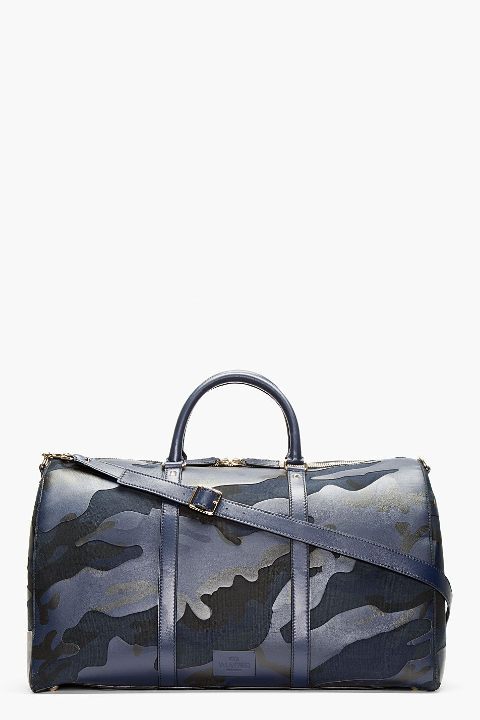6a230dc39e Valentino Navy Camo Print Leather Boston Duffle Bag for men