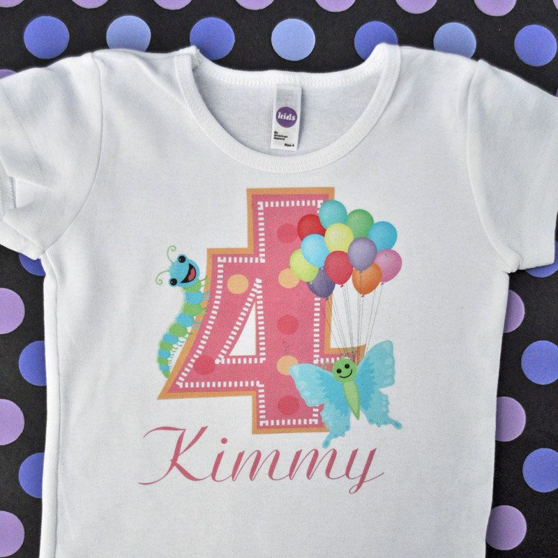 Girls Personalized Butterfly Birthday T Shirt 2 3 4 Year Old Party Caterpillar Balloons Customized With Your Childs Name Pink Celebrate By Modellababy On