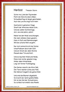 Gedicht Herbst Von Theodor Storm Gedicht Herbst Gedichte Gedicht Schule
