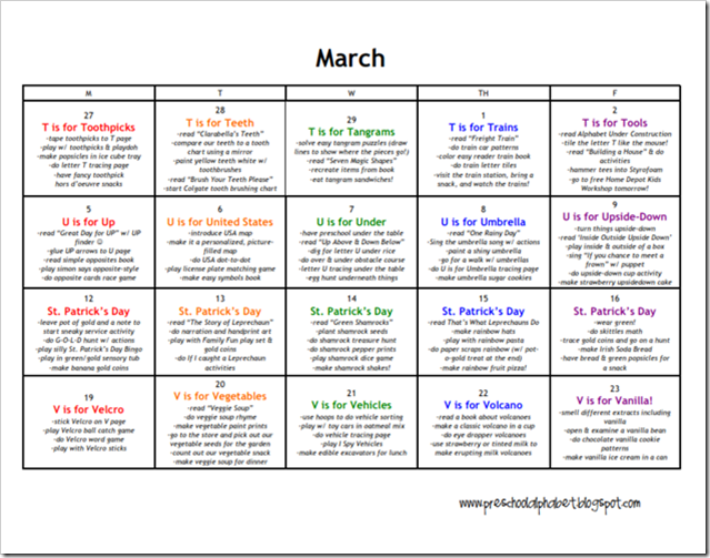 Calendar Lesson Ideas : March lesson plan calendar of ideas my boys