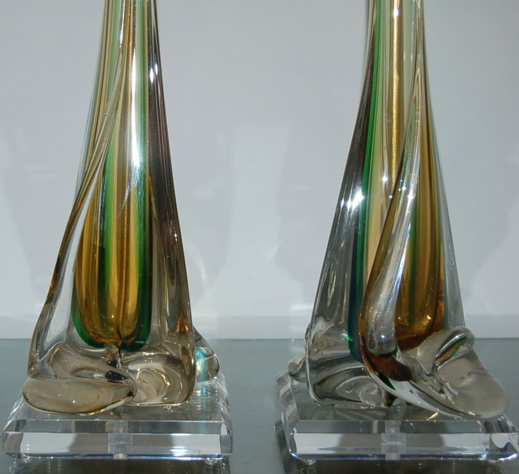 vintage murano sommerso glass lamps by seguso