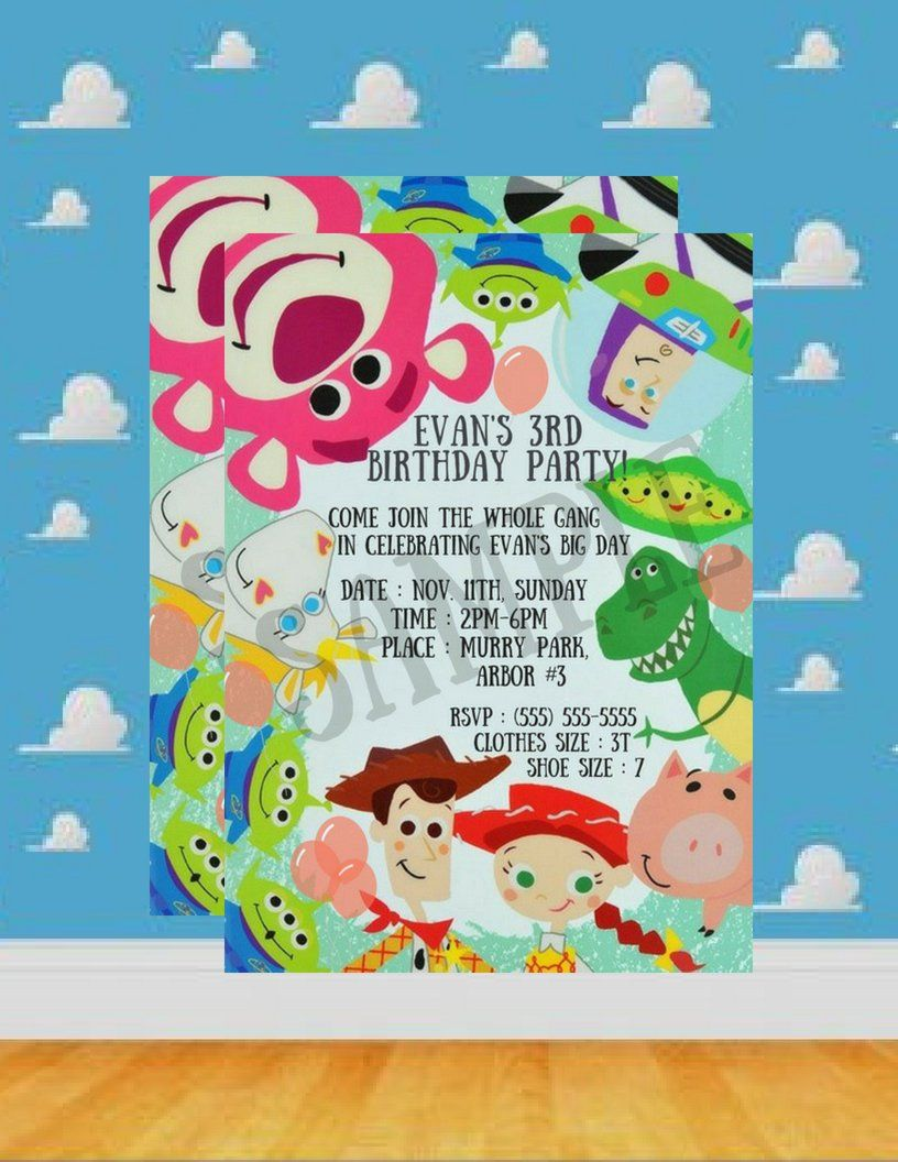 Toy Story Birthday 2nd Invitations Jpg File Pdf Coloring