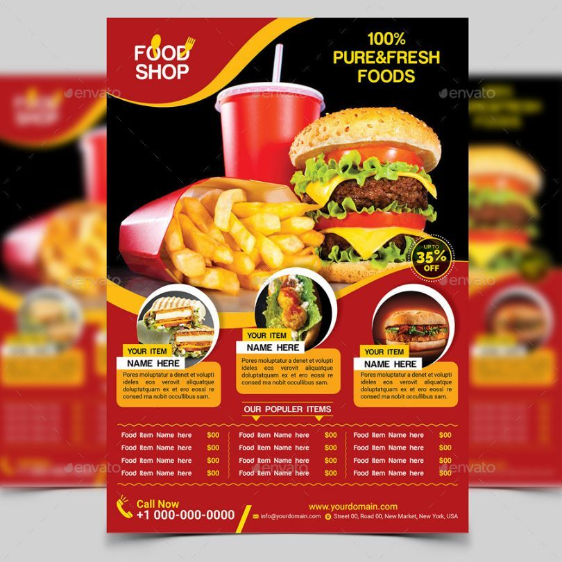 Clean Food Flyer Template Psd   Restaurant And Food Flyer