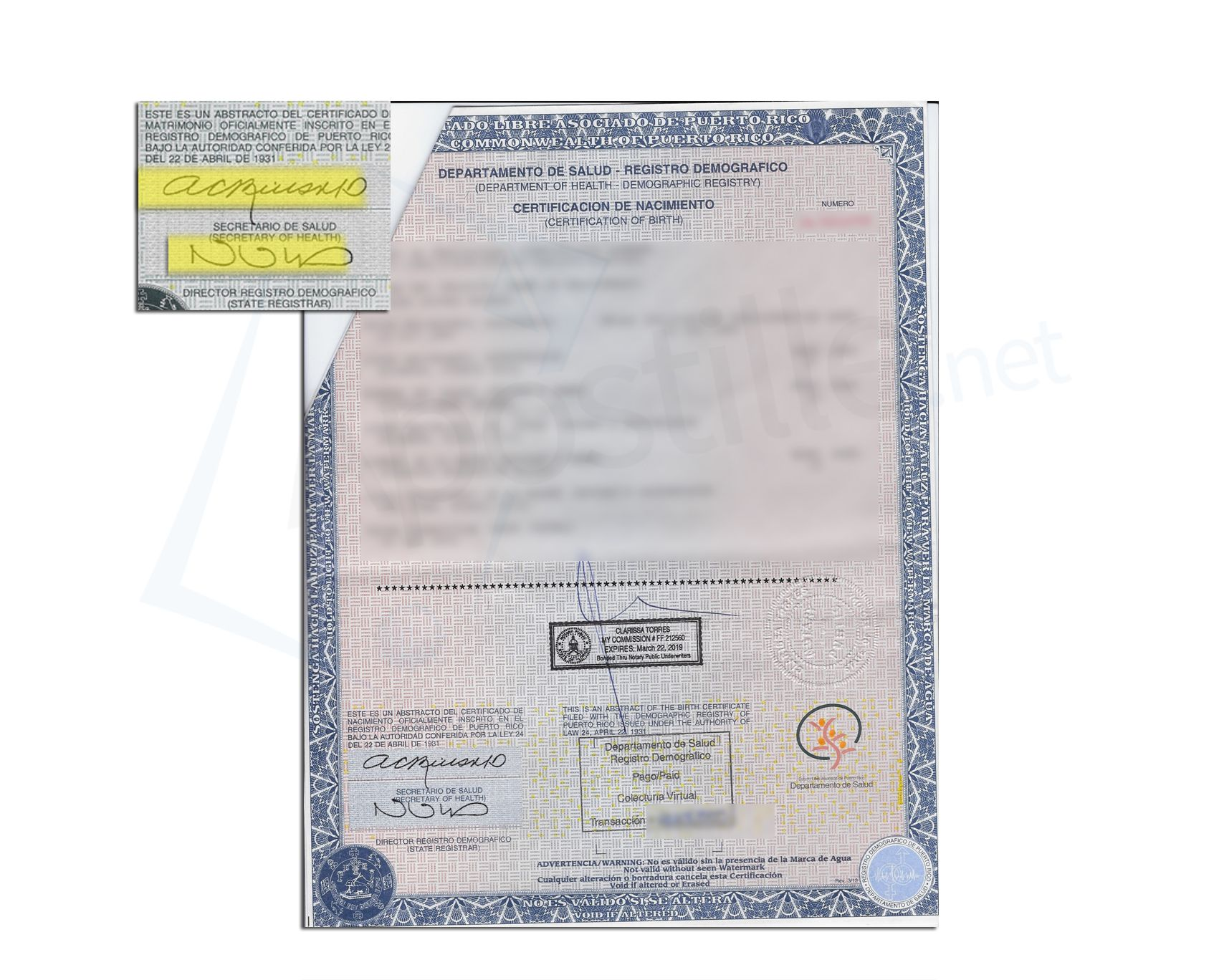 State Of Puerto Rico Birth Certificate Signed By Ana C Rius