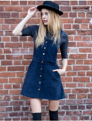 4ae54751d7 Blue corduroy overall dress