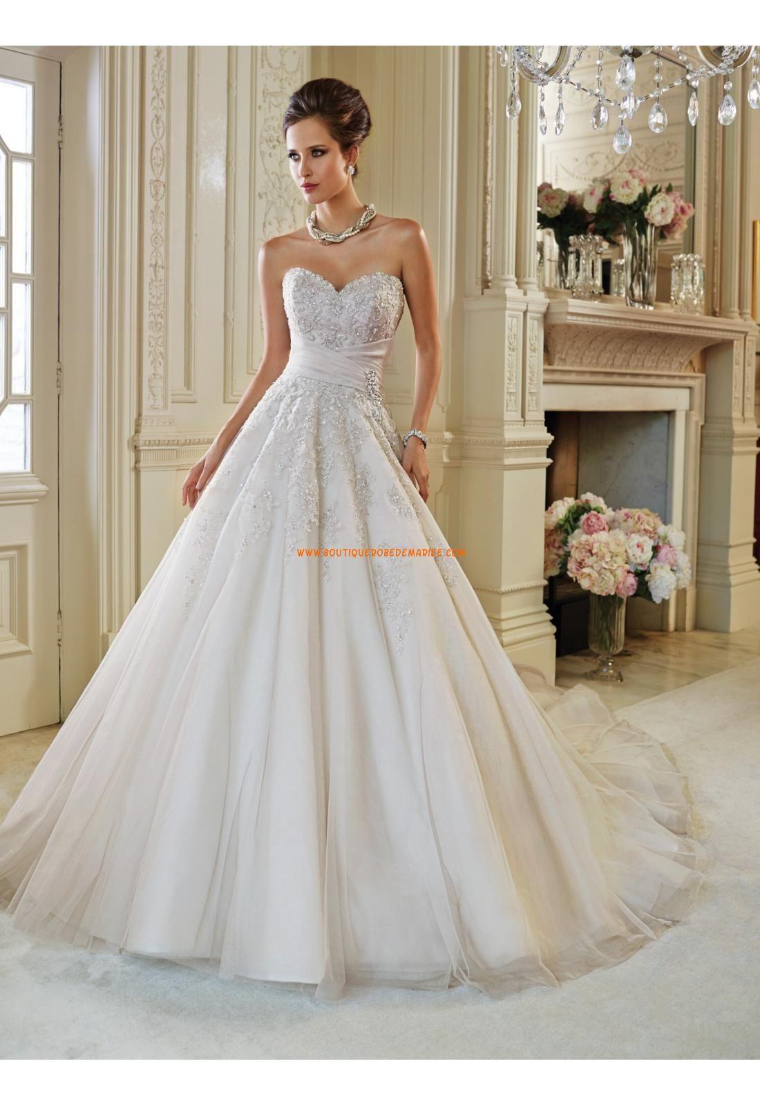 Robe de mariée sans manches dos nu col en coeur princesse | Wedding ...