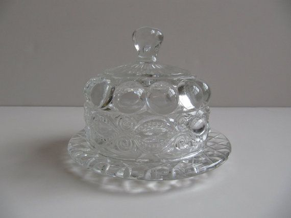 Vintage Round Mosser Eyewinker Pattern Glass Butter Dish With Cover Clear Pattern Glass Vintage Glassware Glass