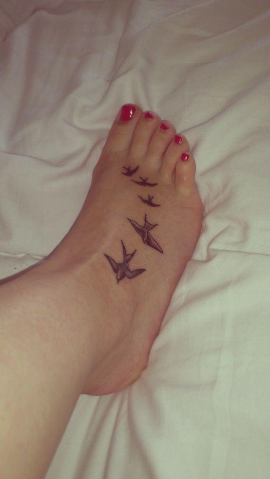 Foot Tattoo Birds Tatoo