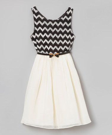 Loving this White & Black Zigzag Dress - Girls on #zulily! #zulilyfinds- I want this in MY size!!