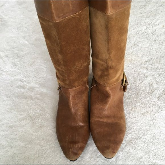 Lucky Brand-- Brown leather boots Contemporary, statement boots! Flattering, two-tone leather. Used. Lucky Brand Shoes Heeled Boots