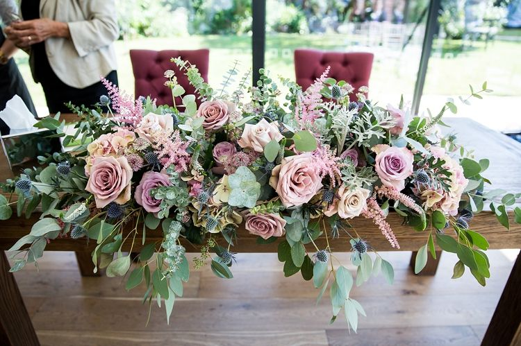 Top Table Flowers Ceremony Pink Foliage Greenery Pastel Country Garden Wedding Http Www