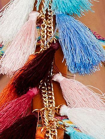158d95a5e0b Sandalias planas con tiras bordadas camel Mujer - Kiabi
