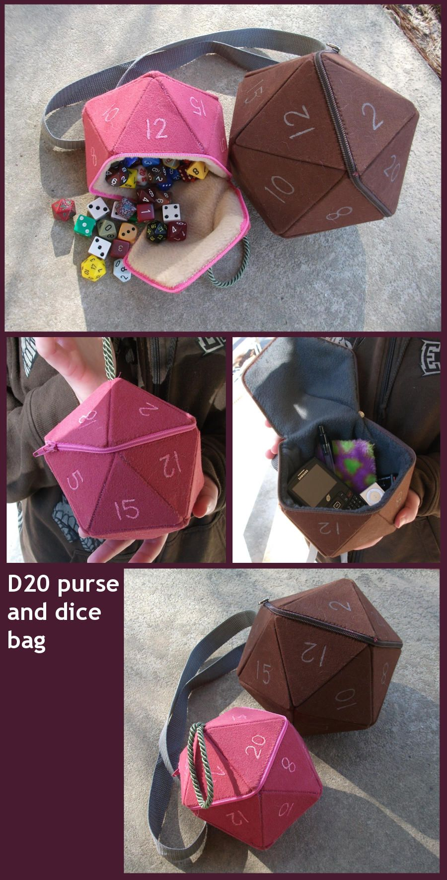 D20 purse and dice bag prototypes by angermuffin on DeviantArt