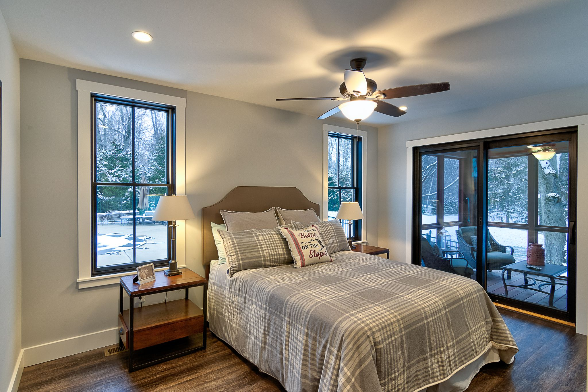 The master suite includes a Brazilian hardwood screened