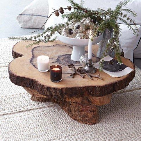 tisch aus holzscheiben dekoration bild idee. Black Bedroom Furniture Sets. Home Design Ideas