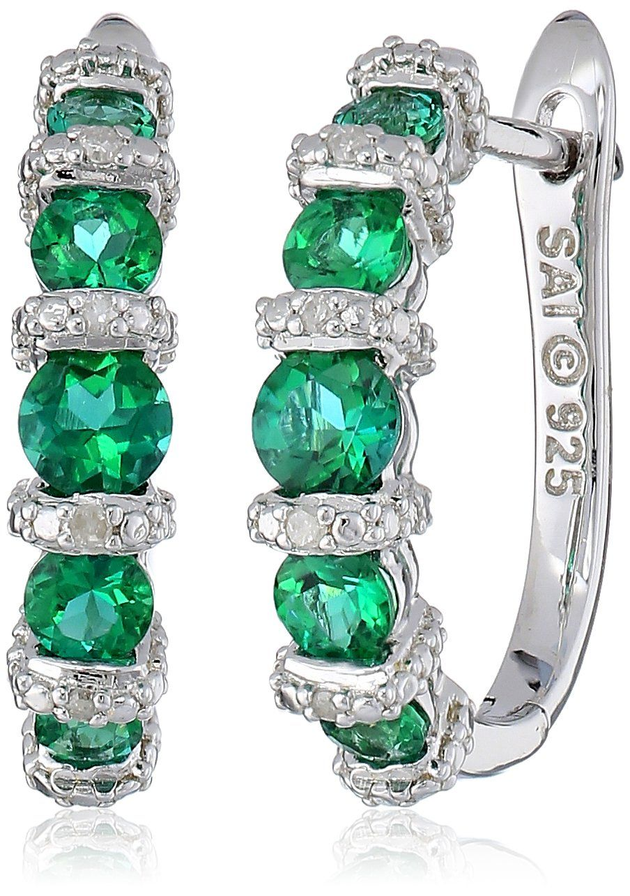 Sterling Silver Created Emerald And Diamond Accented Hoop Earrings Promo Price
