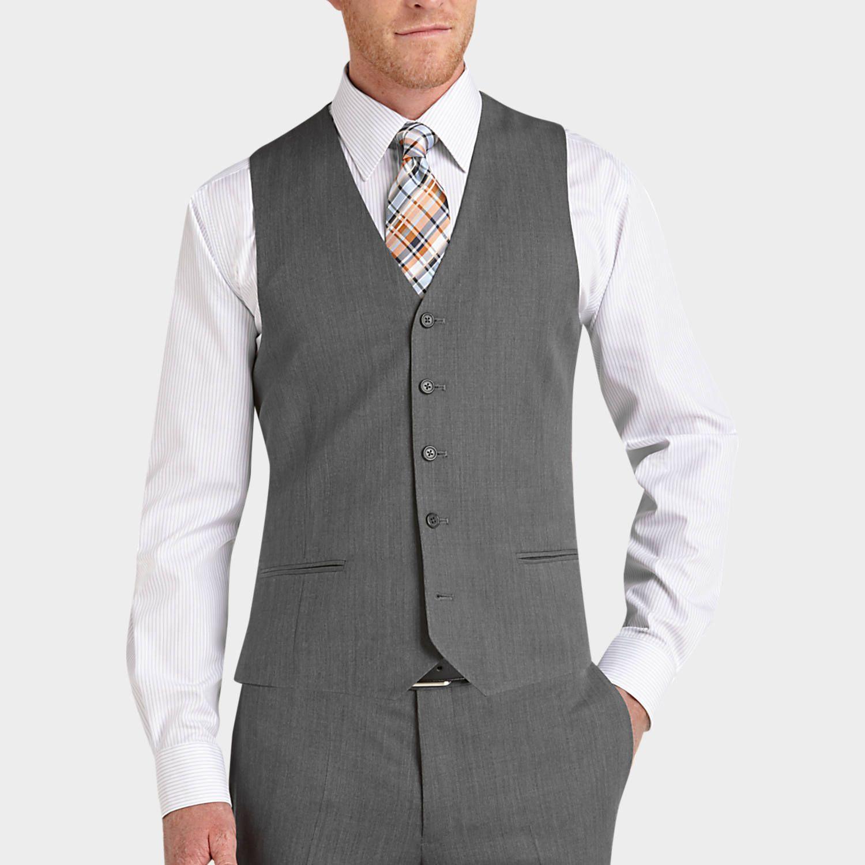 Buy a Egara Gray Sharkskin Slim Fit Tailored Suit Separates Vest ...