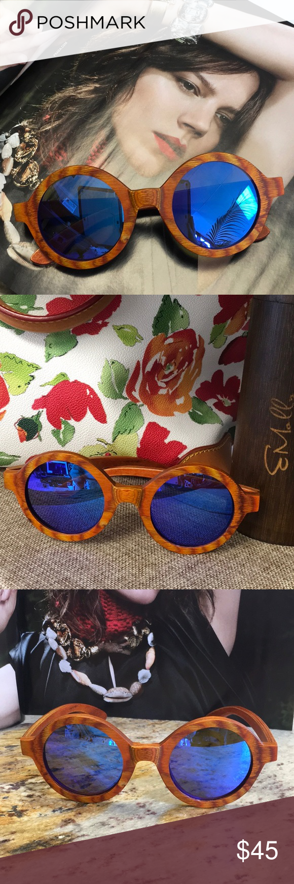 Emolly bamboo sunglasses Vintage style peacock frame in