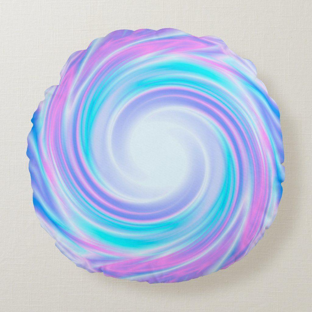 Swirl wavy silk satin multicolor pink violet blue Round Pillow