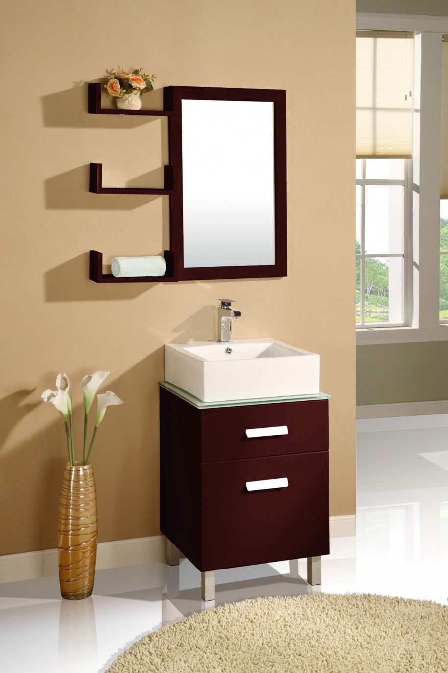 Bathroom sink and mirror - Simple Dark Wood Bathroom Mirrors With Shelves And Small Dark Wood Vanity Cabinet And White Wash Basin For Contemporary Bathroom Accessories Add Bathroom