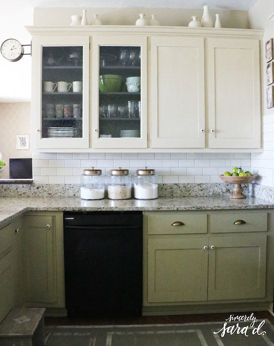 Loved watching this DIY kitchen progress - painted cabinets, seeded glass, painted floor, subway tile & new hardware.