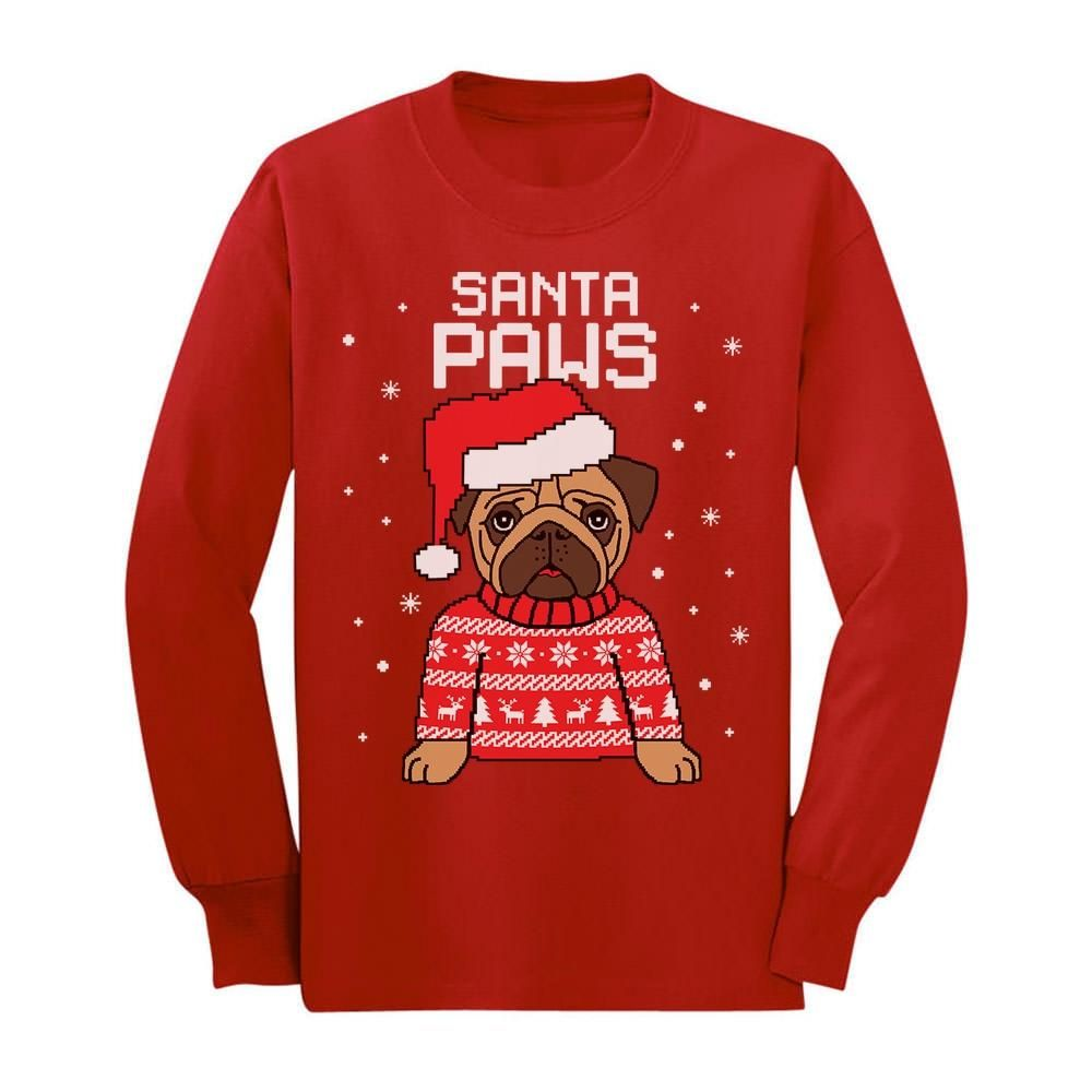 Ugly Christmas Sweater Womens Santa Pug Pullover Sweater