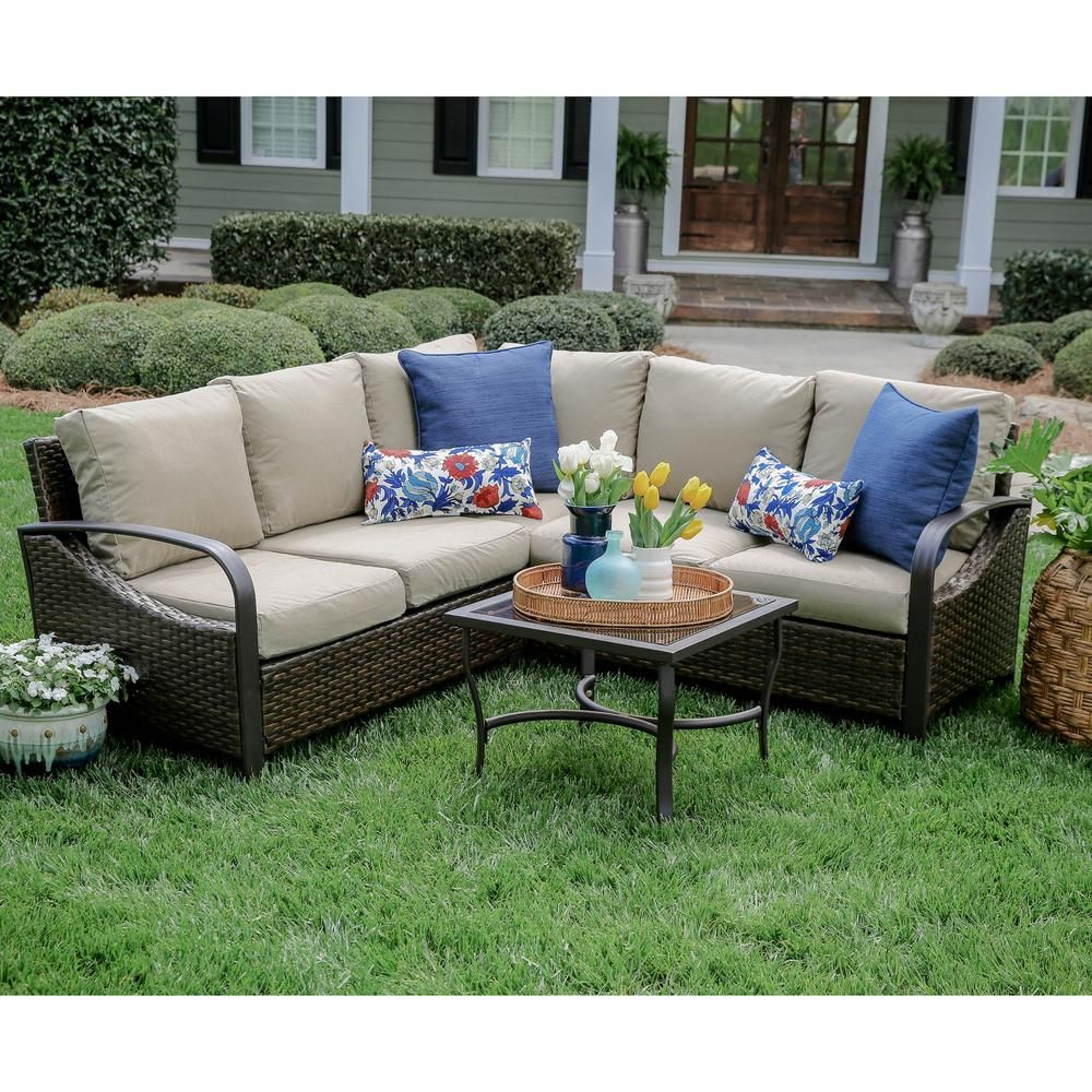 Leisure made trenton piece wicker outdoor sectional set with tan