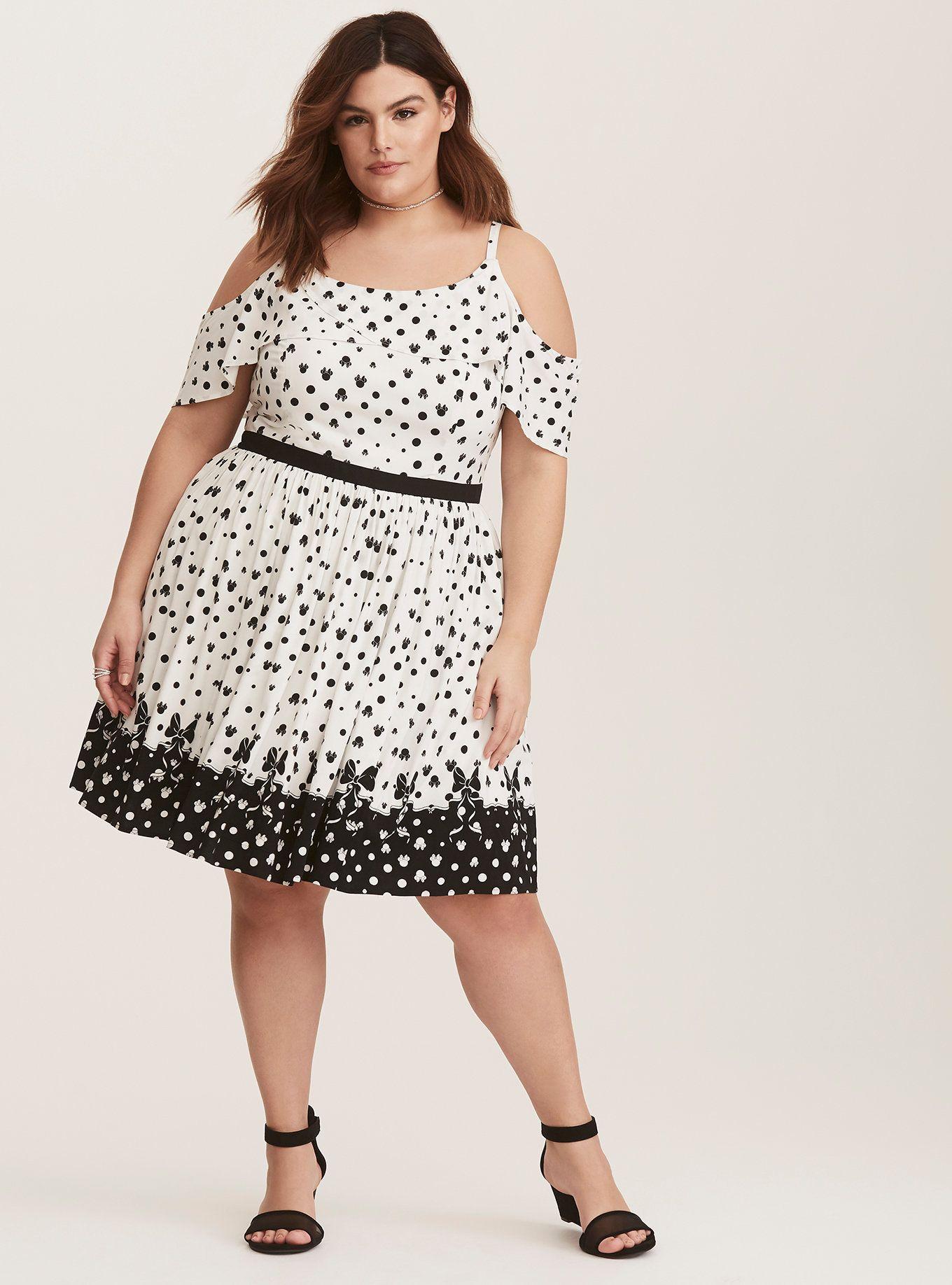 Plus Size Disney Minnie Mouse Black & White Tulip Skater ...