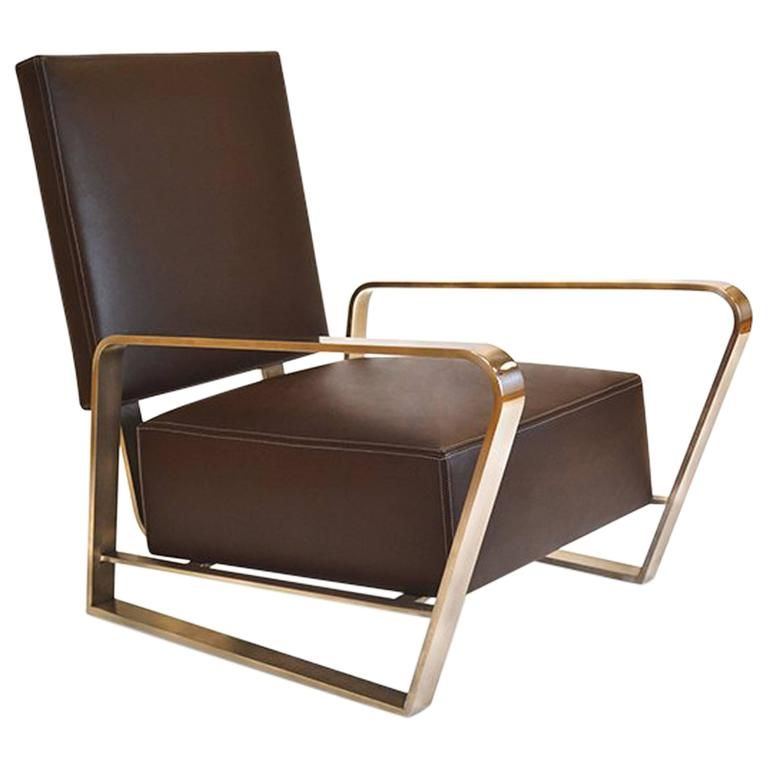 Corliss Lounge Armchair With Leather Seating And Polished Stainless Steel  Body Gallery