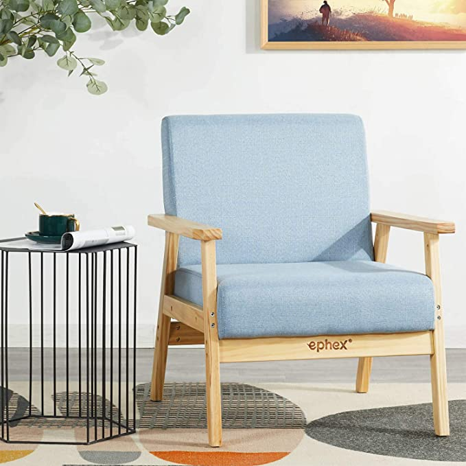 Amazon Com Ephex Mid Century Modern Chair Accent Chair Wooden Arm Chair Fabric Upholstere In 2020 Wooden Armchair Mid Century Modern Chair Blue Furniture Living Room #wooden #arm #chairs #living #room