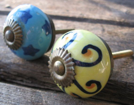 Ceramic Handles Door Knobs French Moroccan By Juslapuce On Etsy, $13.00