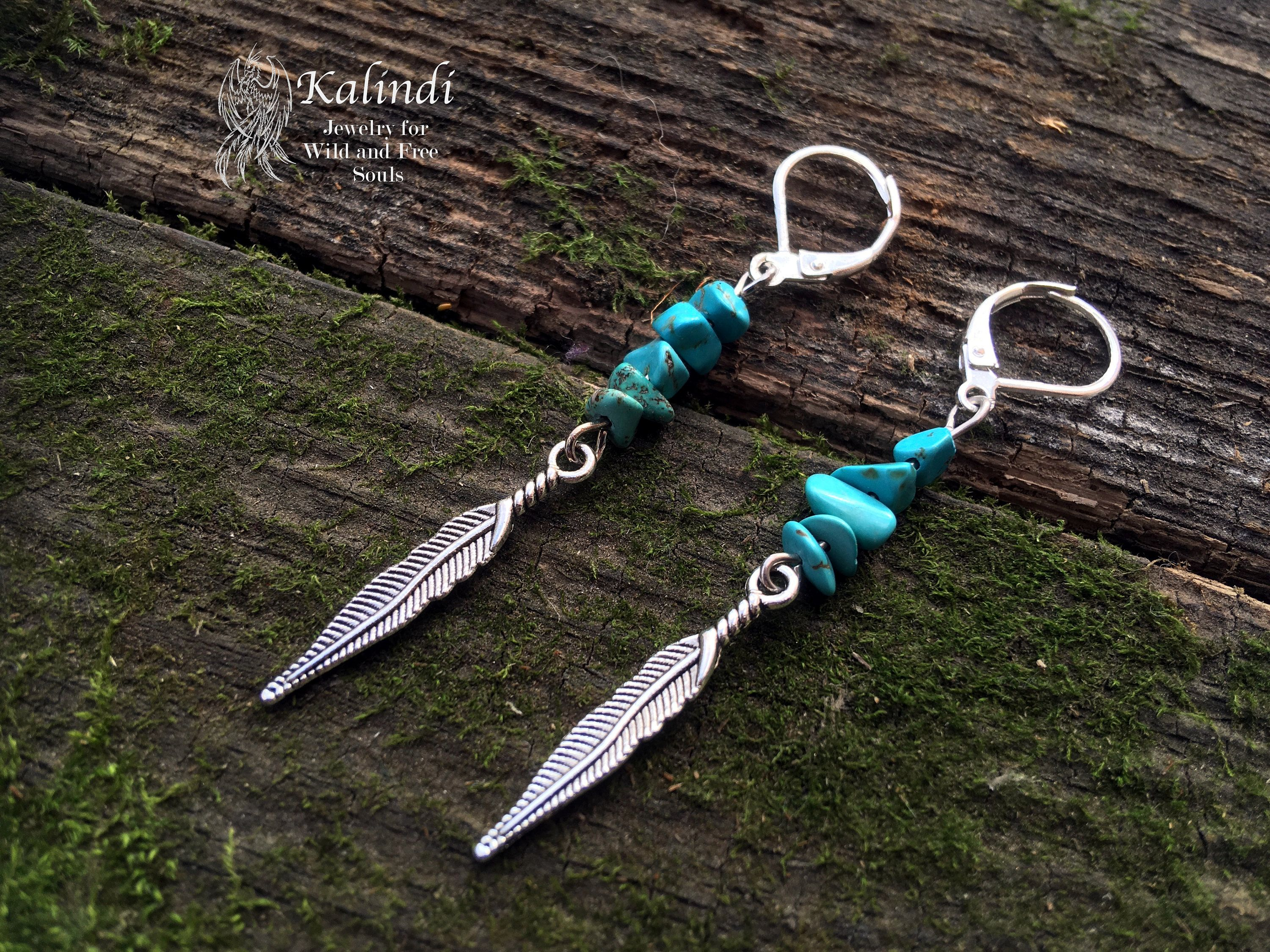 Turquoise Chip Silver Arrow Earrings Dangle /& Drop Gift Handcrafted Jewelry Special Occasion