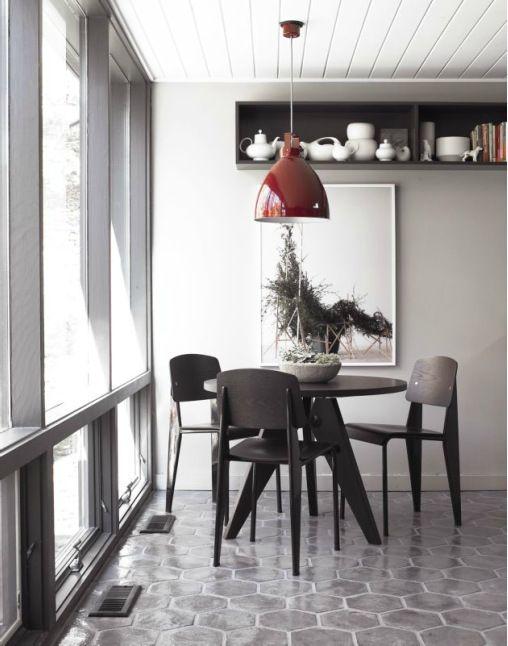 David Prince Modern Interior Design   Love The Red Pendant Lamp In Gray  Interior