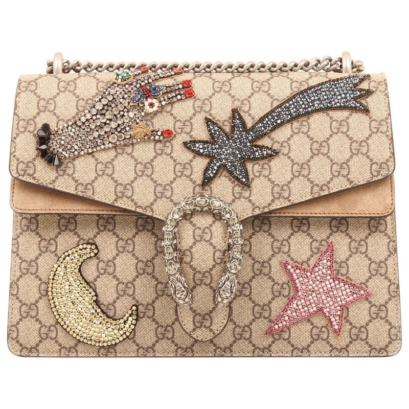 49814ad93cf Gucci Bag Dionysus Embroidered Rhinestones Shoulder Bag.- A structured  taupe suede and GG Supreme canvas bag with the textured tiger head closure