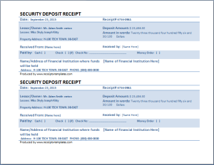 Security Deposit Receipt At WwwReceiptsTemplatesCom  Microsoft