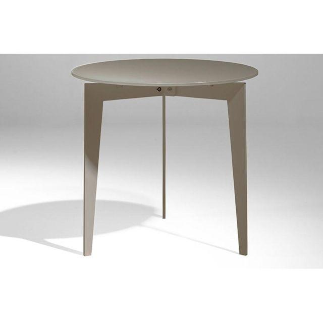 inside 75 table basse ronde dallas en verre dpoli taupe - Inside75 Table Basse