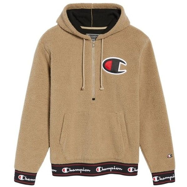 52f6aa197 Men's Champion Teddybear Fleece Half-Zip Hoodie ($90) ❤ liked on Polyvore  featuring men's fashion, men's clothing, men's hoodies, mens sweatshirts  and ...