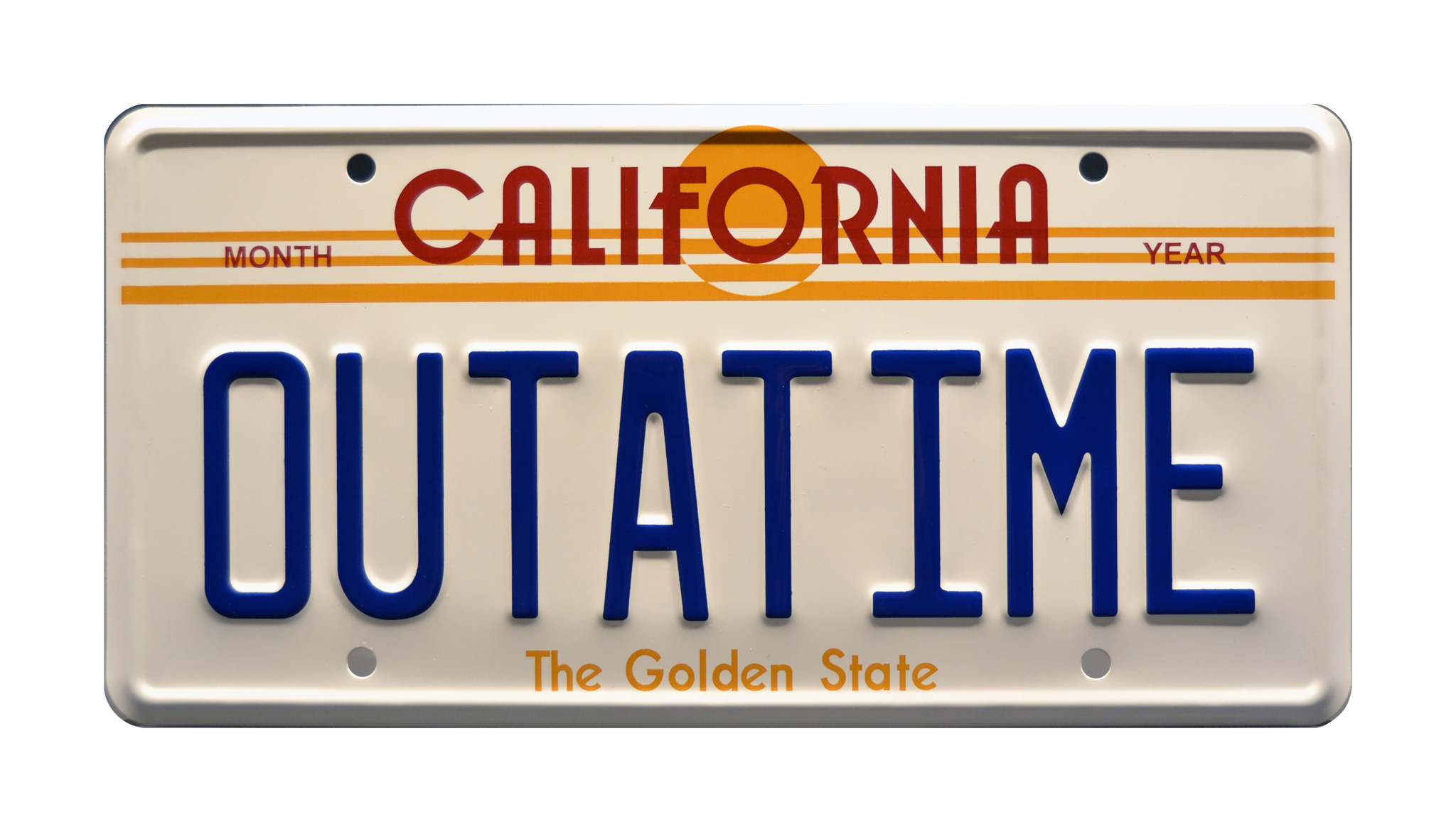 OUTATIME CALIFORNIA STATE BACKGROUND METAL NOVELTY LICENSE PLATE