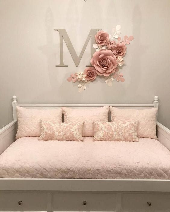 Nursery wall art girl decor paper flowers for baby code also rh pinterest