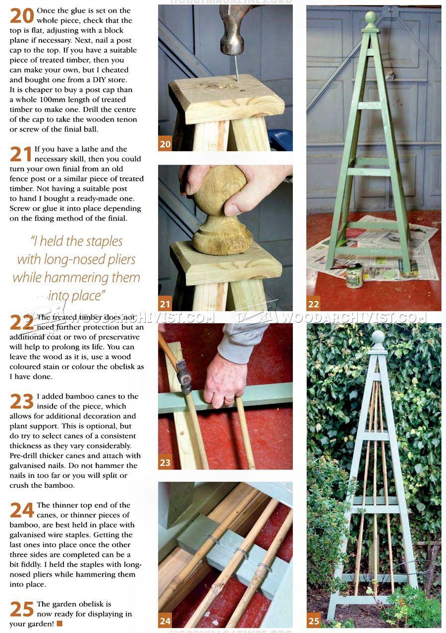 3166 Garden Obelisk Plans Outdoor Plans Trellis Wooden Garden