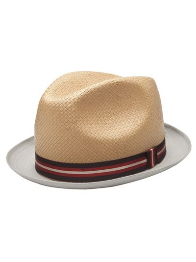 4e0f5fb3 Trilby hat in tan from Paul Smith. This hat features a woven straw top,  grey stitched cotton brim, and a red