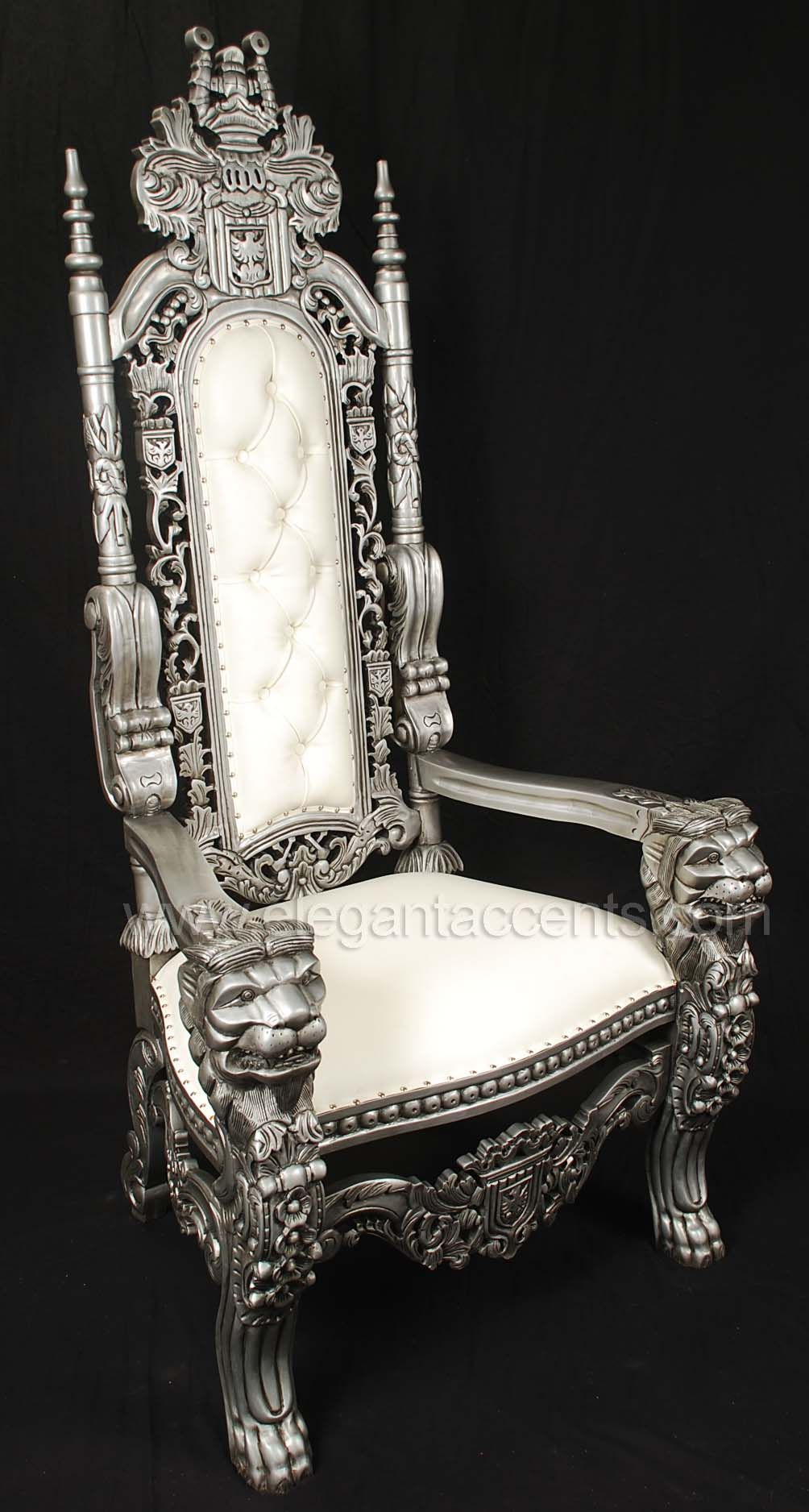 King Lion Throne Chair 995 Distressed Silver Finish