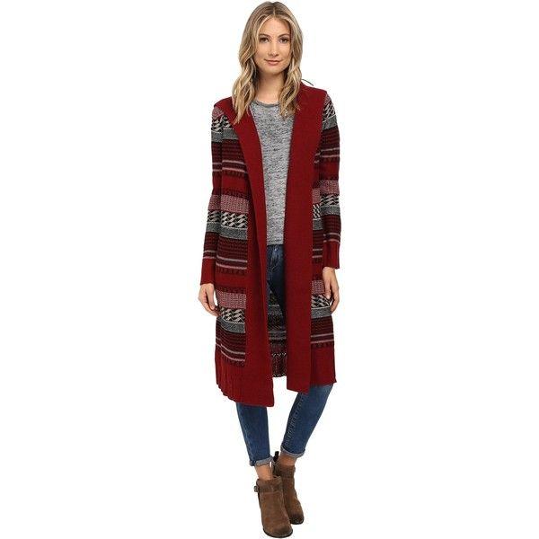 BB Dakota Kaiden Hooded Pattern Cardigan Women's Sweater, Burgundy ($58) ❤ liked on Polyvore featuring tops, cardigans, burgundy, open front cardigan, burgundy cardigan, stripe cardigan, red top and red open front cardigan
