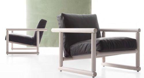 Современное кресло / деревянное / из кожи / салазки PIPE by Enzo Berti Flai