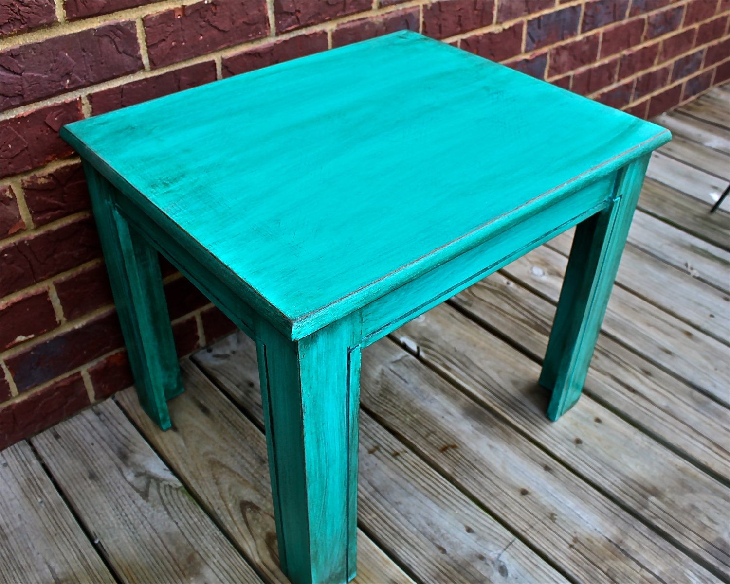 Teal blue vintage nightstand side table end table - Antique side tables for living room ...