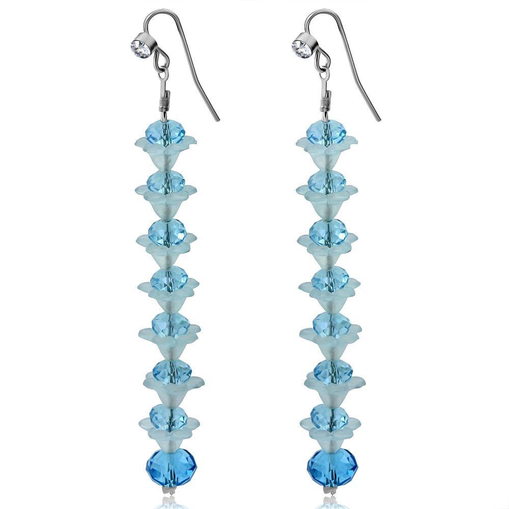 Flower Elegant Light Blue Crystal Long Earrings - http://www.facebook.com/127468351937/posts/10153200450641938